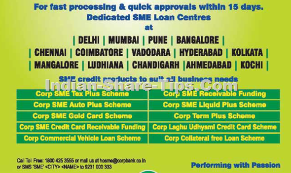 Corp Bank Dedicated SME Loan Approval Centres