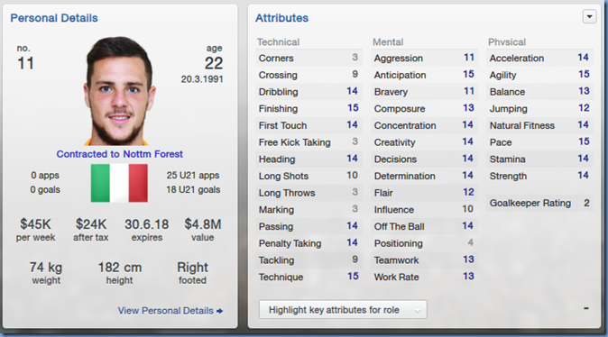 Mattia Destro in Football Manager 2013