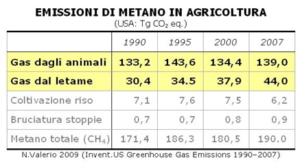 Metano da agricoltura (NV 2009, USA 1990-2007)