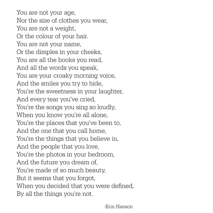 you are not -- erin hanson