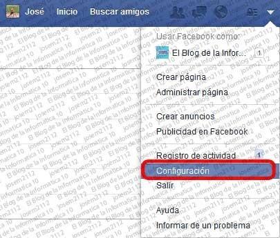 Copia de seguridad de Facebook - opción configuración