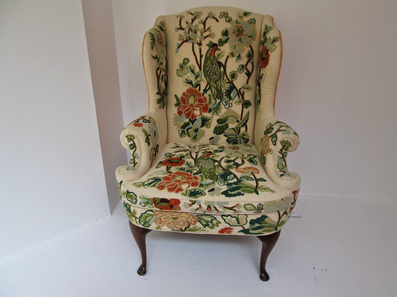 Queen Anne Style Wing Chair #1