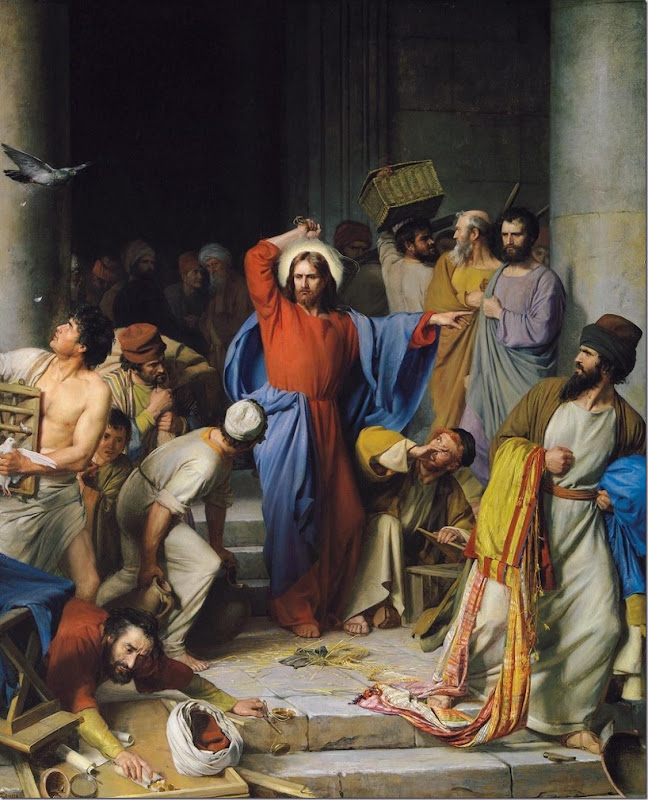 'Jesus Cleanses the Temple' John 2.13–22 ESV. 'Christ Cleansing the Temple' 1875 by Carl Heinrich Bloch 1834 - 1890 Copenhagen, Denmark