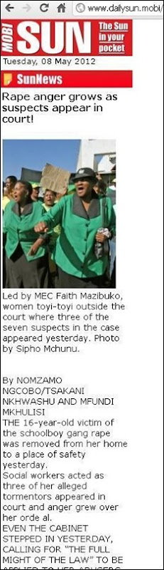 SOWETO gang RAPE video THE SUN STORY 8 May 2012