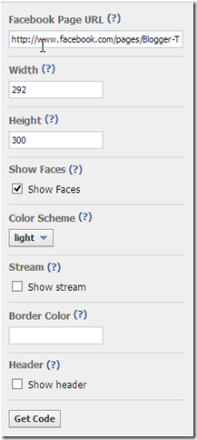 Facebook Like Box Setting