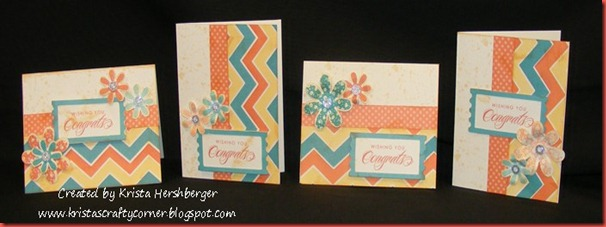Dotty for You_4 congrats cards with lagoon, sunset and creme brulee
