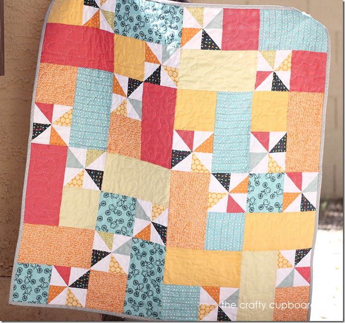 Pinwheel Baby Boy Quilt by the Crafty Cupboard
