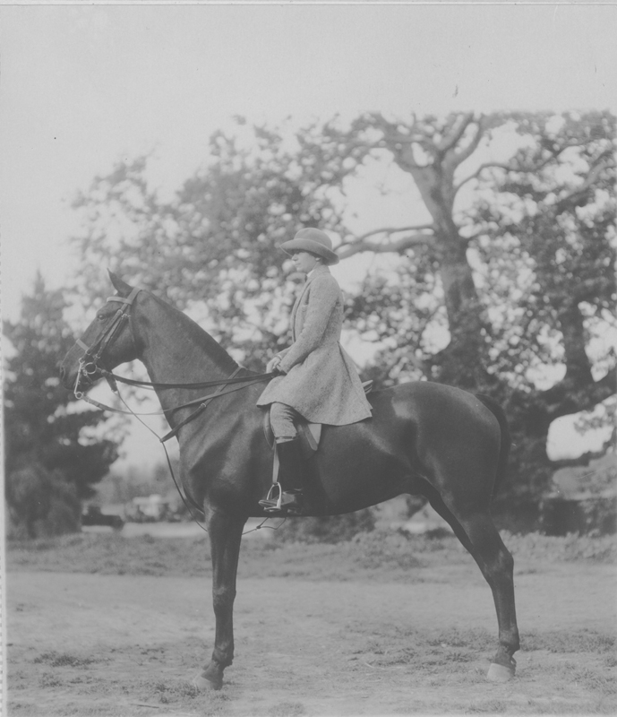 Dorothy Putnam riding at the horse show at the Ambassador Hotel in Los Angeles. 1921.