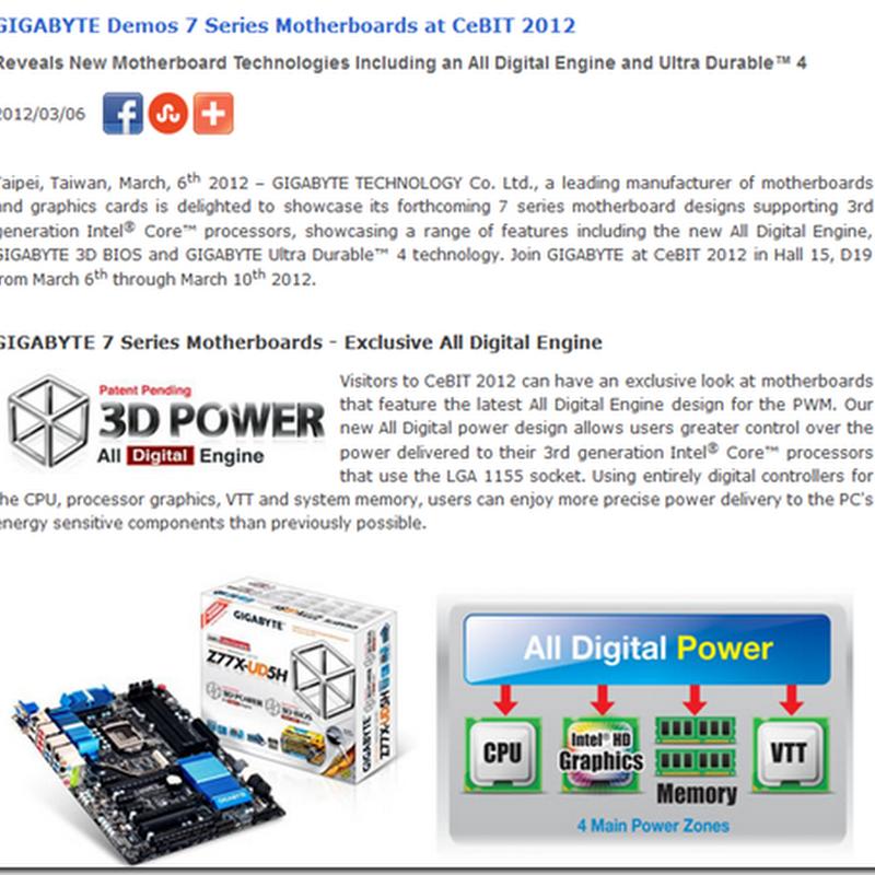 GIGABYTE Demos 7 Series Motherboards at CeBIT 2012