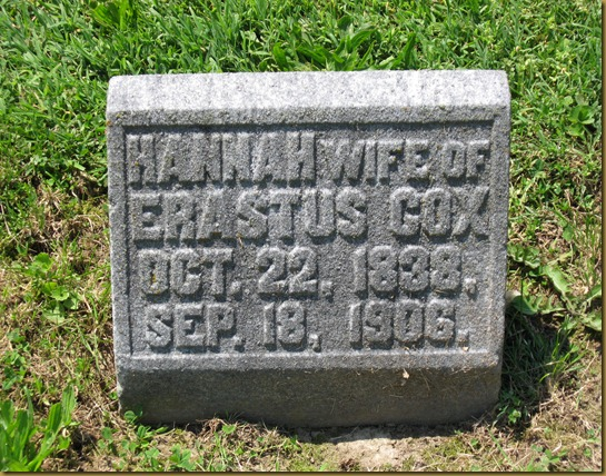 Hannah wife of Erastus Cox
