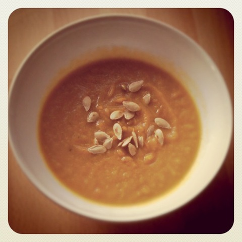 #2 Homemade honeyed carrot soup with toasted squash seeds