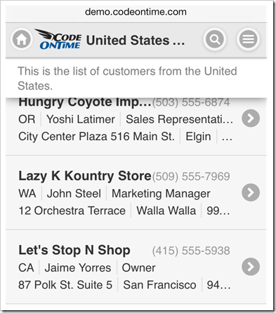 An alternative view of customer list displayed in a mobile application created with Code On Time mobile/desktop app generator.