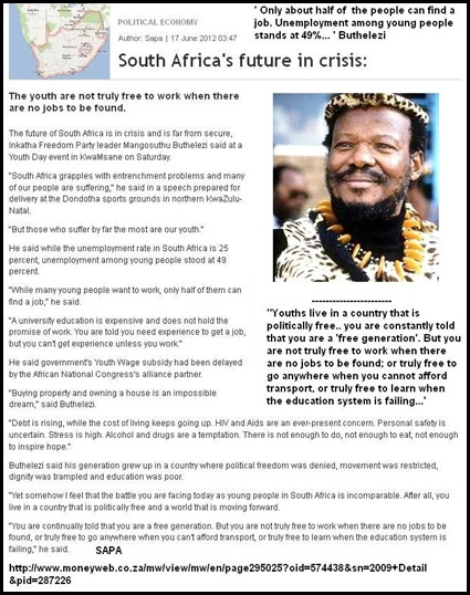 Buthelezi Mangosuthu Prince SPEECH JUNE 20 2012 you are not free