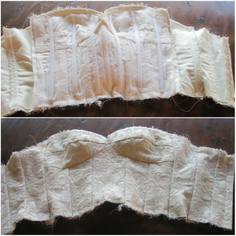 The inside and outside views of the bodice construction.