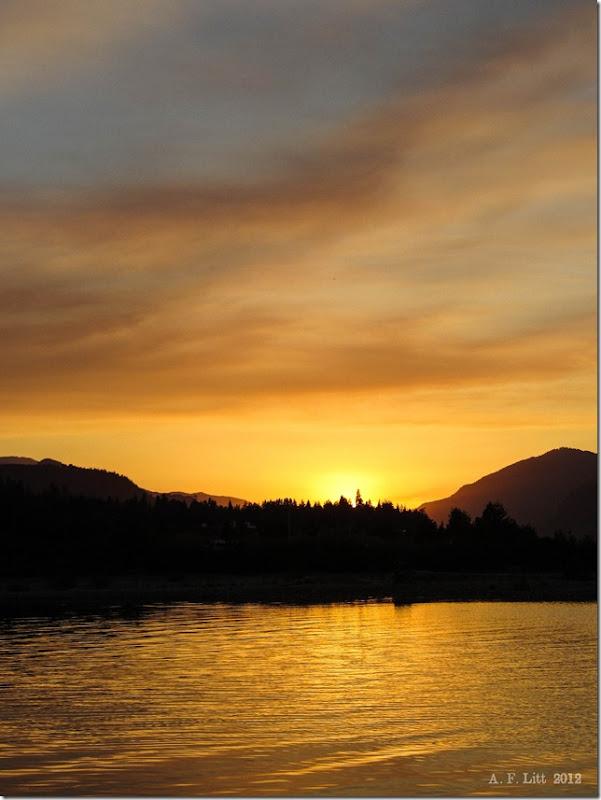 Sunset beyond the Columbia.  Hood River, Oregon.  September 30, 2012.