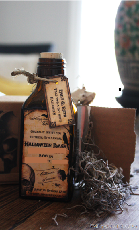Halloween invites dj lance rock emily a clark for Halloween medicine bottles