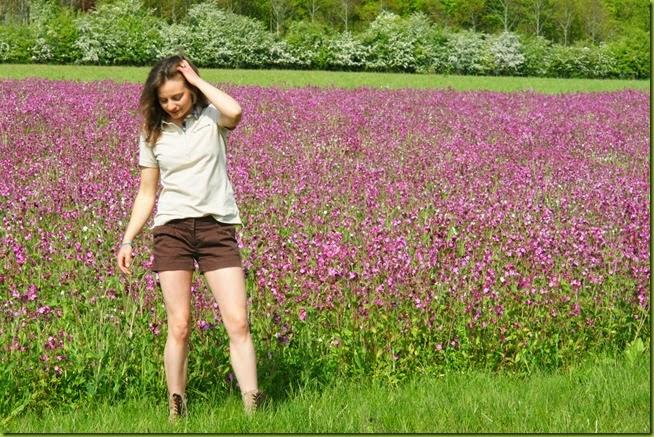 girl in wildflower meadow