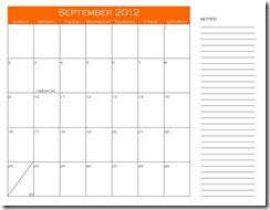 September Calendar with Notes