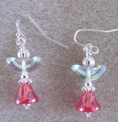 Cape red angel earrings with irredescent wings