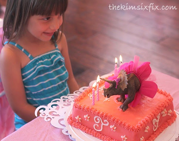 Princess dinosaur birthday cake