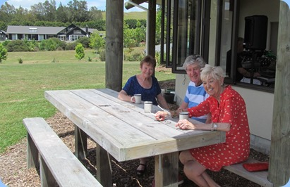 Diane Lyons, Ian Jackson and Maureen Jackson enjoying a coffee break in the glorious sunshine. Photo courtesy of Dave Winslade.