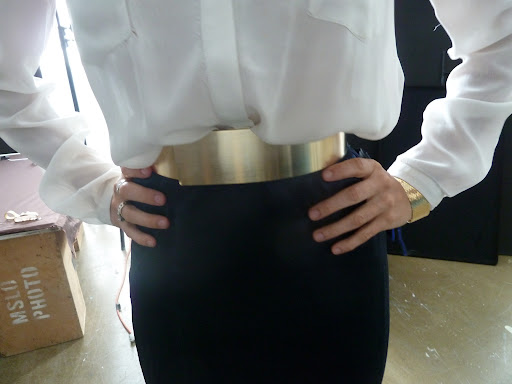 Melissa tried on this Matthew Williamson metal belt from Net-A-Porter.com.