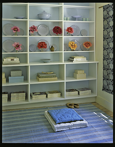 I love the soft blue painted on the back of the bookcase.  It's a great way to add color to a room.