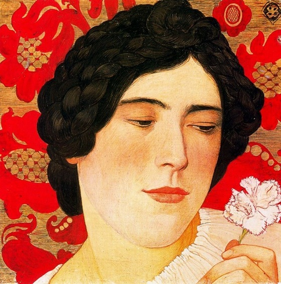 Young Girl with Carnation, 1908, Ernest Bieler