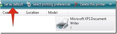 Set As Default option to select primary Printer