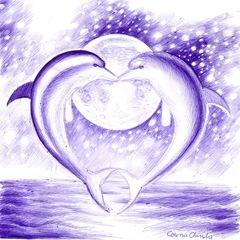 Delfini indragostiti  in lumina lunii desen facut cu pixul - Dolphin love in the moonlight pen drawing