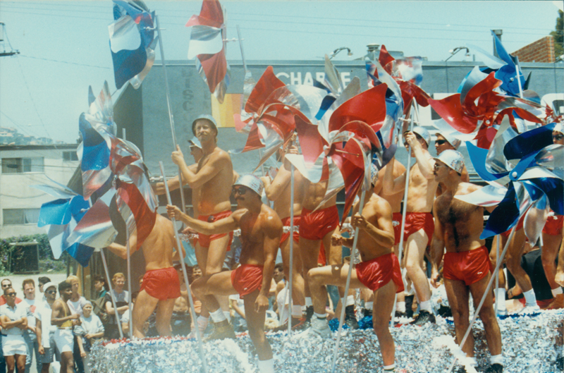 Christopher Street West parade on Santa Monica Boulevard in West Hollywood. Circa 1986.
