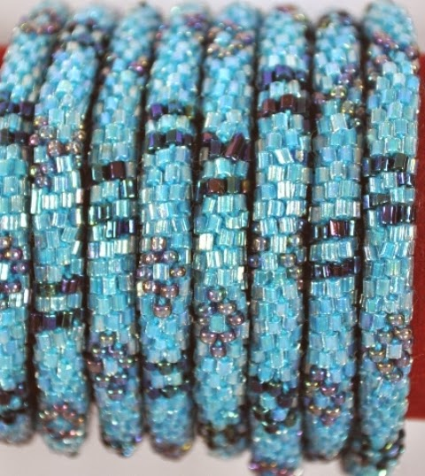Rollover Bracelets Blue diamond patther