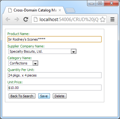 Saving product properties in a cross-domain client of a web app created with Code On Time