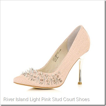 RIver ISland LIGHT PINK STUD AND SPIKE POINT COURT SHOES