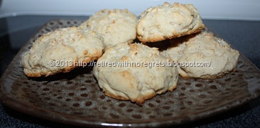 Coconut Topped Biscuit Scones - served
