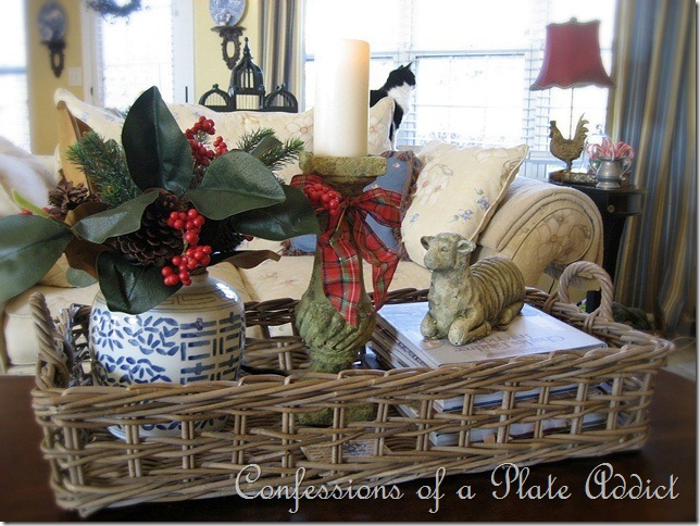 CONFESSIONS OF A PLATE ADDICT Burlap and Plaid Mantel