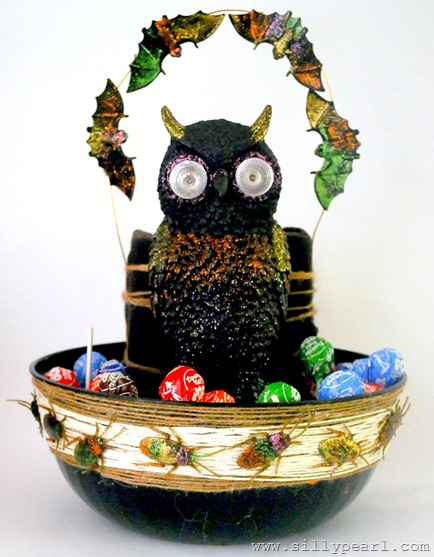The Silly Pearl Handmade-Creepy Creatures Halloween Candy Bowl