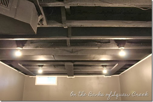 painted black basement ceiling