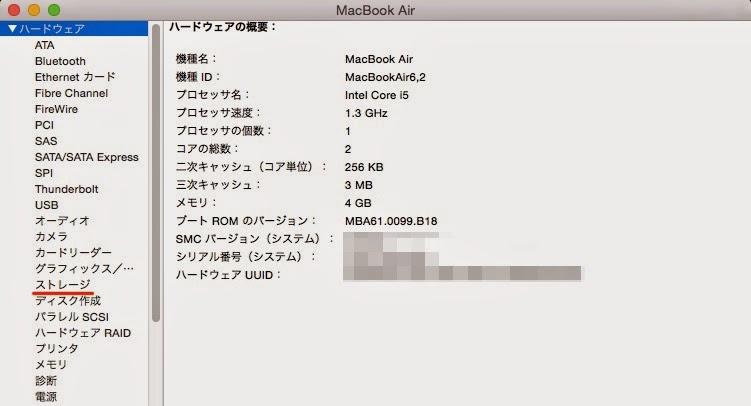 MacのHDD確認画面