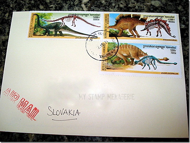 Prehistoric animals dinosaurs on Cambodian cover