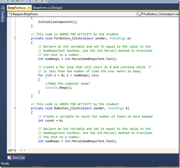 programming activity solution screenshot