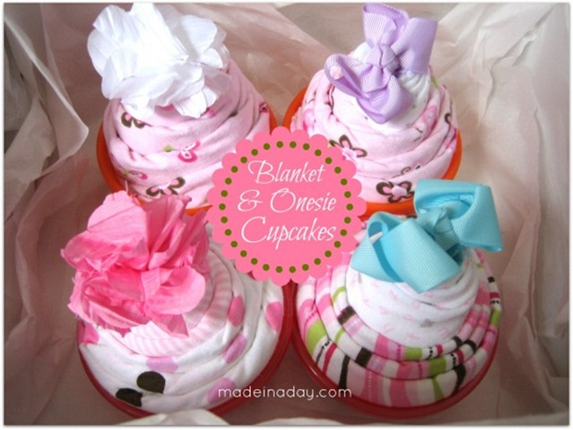onsie baby blanket cupcakes for baby shower