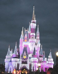 castle at night pink1