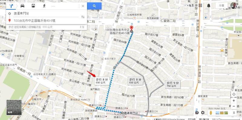 從東門站到誇張古懂咖啡店步行路線.png
