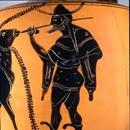 Lecito ático de figuras negras (550-500 a.C.) atribuido al Grupo de Leagros. Museo de la escuela de diseño de Rodas - Hermes mirando a Europa y el toro (detalle).
