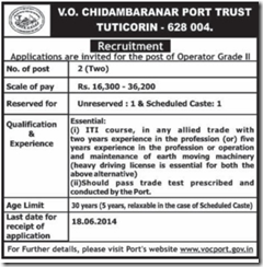 VOC Port Trust - www.indgovtjobs.in