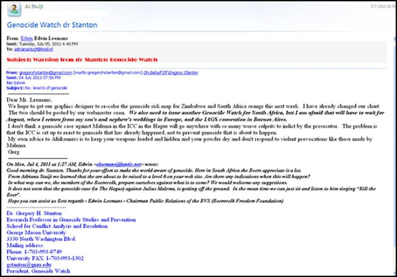 GENOCIDE WATCH JULY52011 ADVICE STANTON TO AFRIKANERS