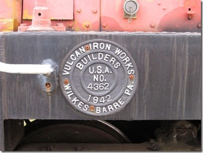 IMG_6448 Centralia-Chehalis Railroad Association Vulcan 45-Tonner Builders Plate on May 12, 2007