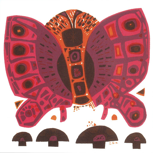 I love the layering of color in this print. Such rich tones. Butterfly 12x12 Serigraph 1965.