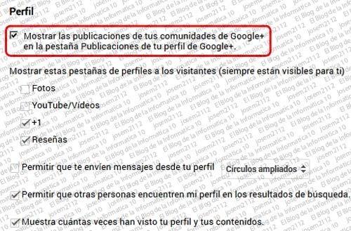 opción mostrar las publicaciones de comunidades en pestaña publicaciones de tu perfil de google+